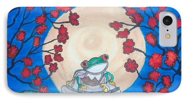 IPhone Case featuring the painting Red Eyed Frog Singing To The Moon by Connie Valasco