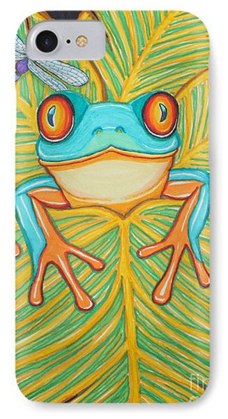 Red Eyed Tree Frog And Dragonfly Phone Case by Nick Gustafson