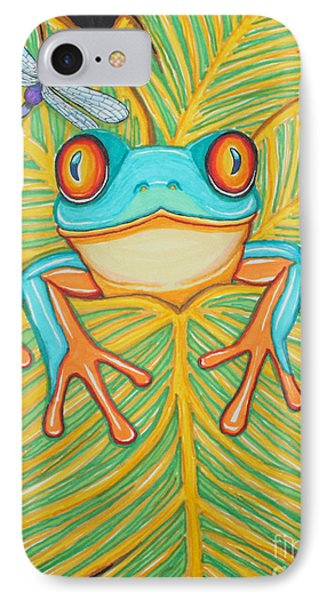 Red Eyed Tree Frog And Dragonfly IPhone Case
