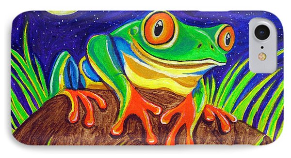 Red-eyed Tree Frog And Starry Night Phone Case by Nick Gustafson