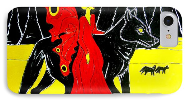 Red Faerie And Black Wolf With Yellow Moon IPhone Case by Genevieve Esson