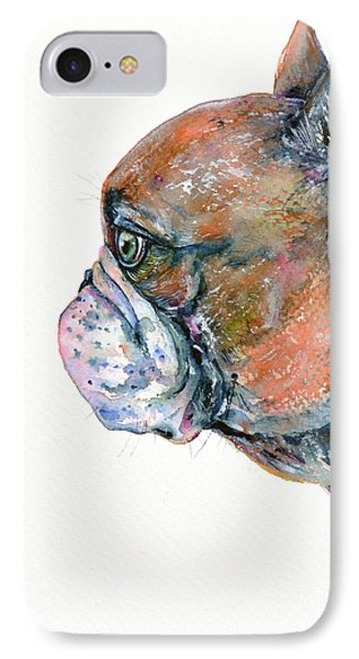 IPhone Case featuring the painting Red Fawn Frenchie by Zaira Dzhaubaeva