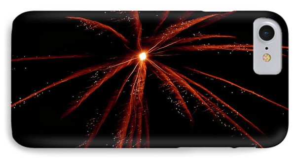 IPhone Case featuring the photograph Red Fireworks #0699 by Barbara Tristan