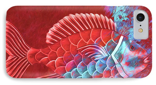 IPhone Case featuring the photograph Red Fish Into The Blue by Carol Leigh