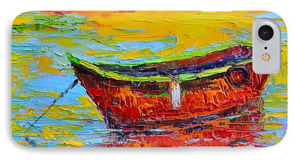 Red Fishing Boat At Sunset - Modern Impressionist Knife Palette Oil Painting IPhone Case by Patricia Awapara