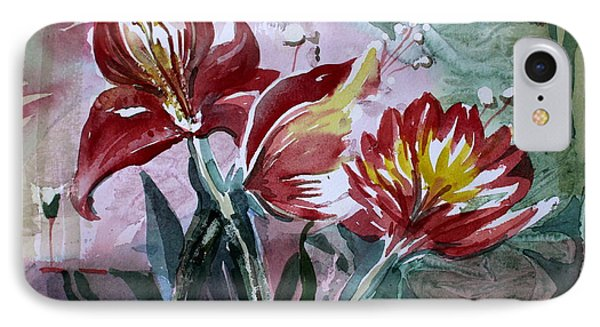 Red Flora IPhone Case by Mindy Newman