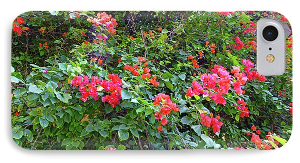 IPhone Case featuring the photograph Red Flower Hedge by Francesca Mackenney
