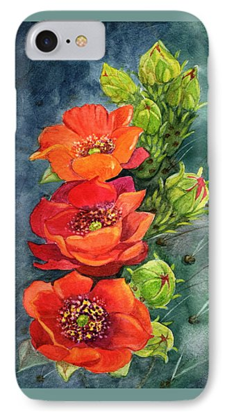 Red Flowering Prickly Pear Cactus IPhone Case by Marilyn Smith