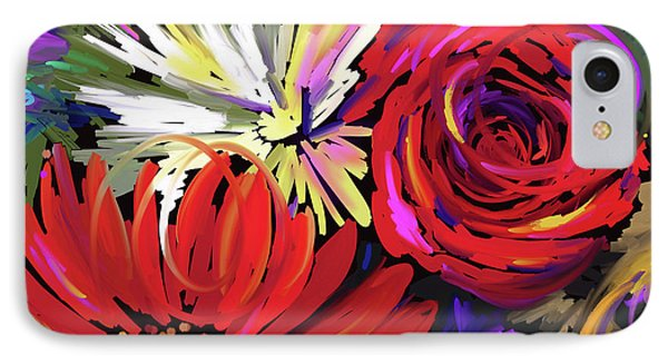 IPhone Case featuring the painting Red Flowers by DC Langer