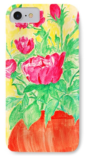 Red Flowers In A Brown Vase IPhone Case by Jose Rojas