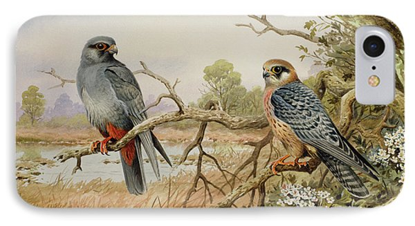 Red-footed Falcons IPhone 7 Case by Carl Donner
