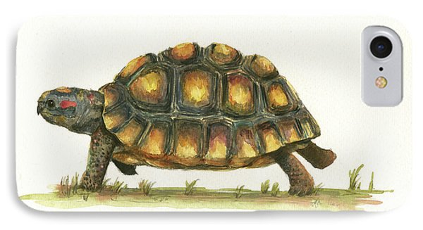 Turtle iPhone 7 Case - Red Footed Tortoise  by Juan Bosco