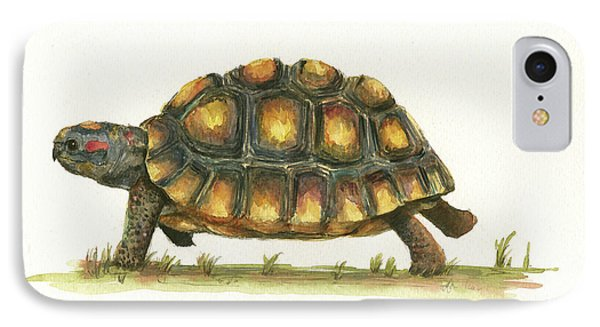 Red Footed Tortoise  IPhone 7 Case by Juan Bosco