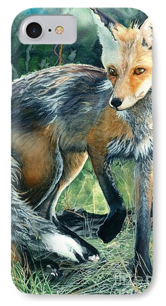 IPhone Case featuring the painting Red Fox- Caught In The Moment by Barbara Jewell