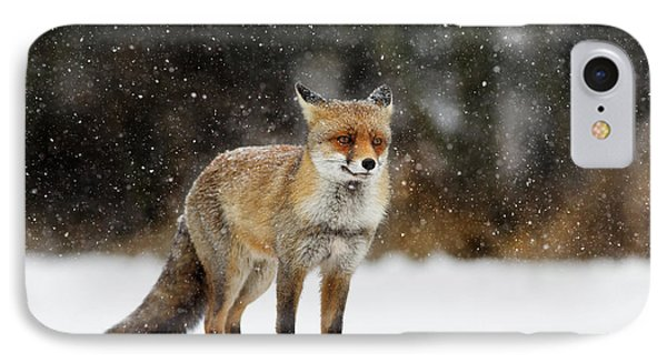 Red Fox In A Blizzard IPhone Case by Roeselien Raimond
