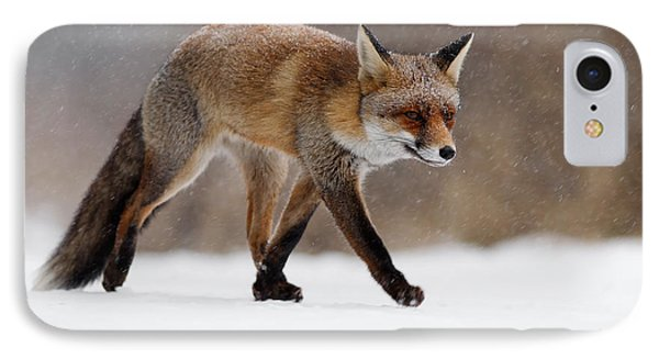 Red Fox  Running Through A Snowshower IPhone Case by Roeselien Raimond