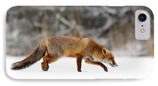 Red Fox Running Through A White World IPhone Case by Roeselien Raimond