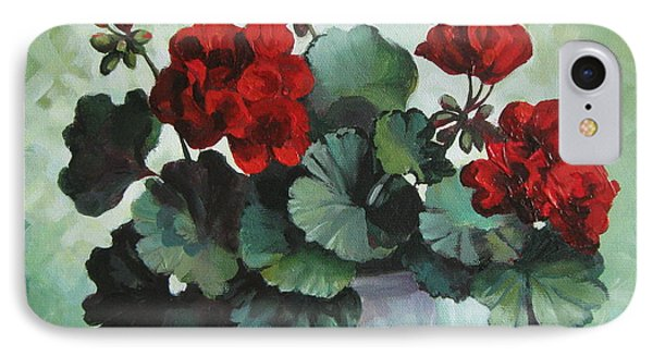 IPhone Case featuring the painting Red Geranium by Elena Oleniuc