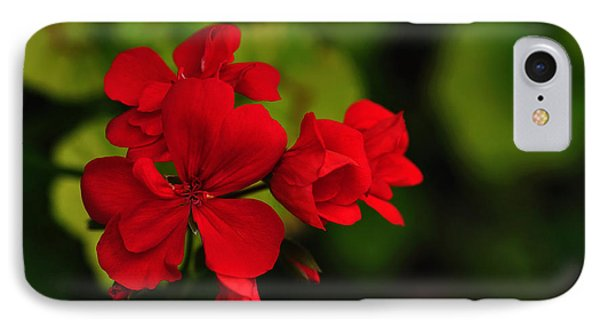 Red Geranium IPhone Case by Kaye Menner