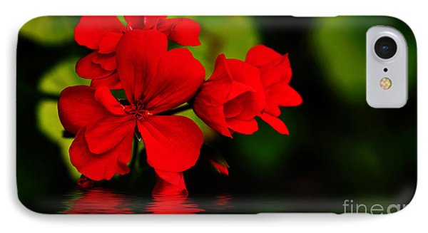 Red Geranium On Water IPhone Case by Kaye Menner