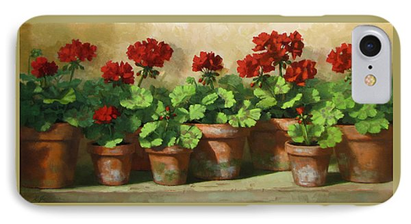 Red Geraniums IPhone Case by Linda Jacobus