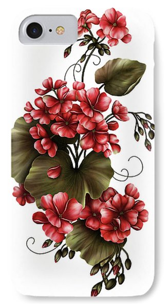 Red Geraniums On White IPhone Case by Georgiana Romanovna
