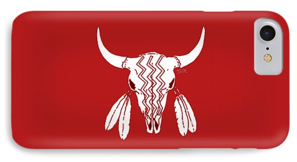 Red Ghost Dance Buffalo IPhone 7 Case by Steamy Raimon