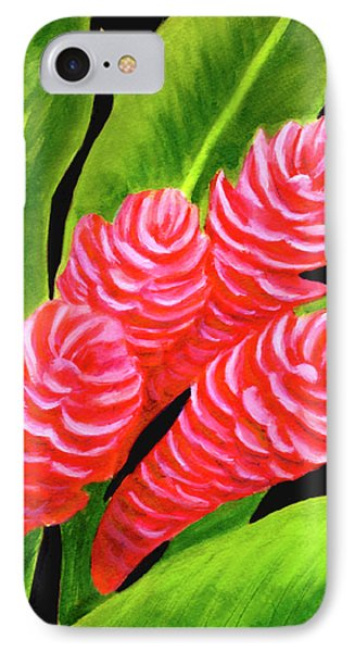 Red Ginger Flowers #235 Phone Case by Donald k Hall