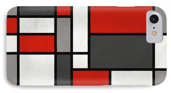 Red Grey Black Mondrian Inspired IPhone Case by Michael Tompsett