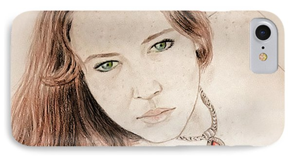 IPhone Case featuring the drawing Red Hair And Freckled Beauty by Jim Fitzpatrick