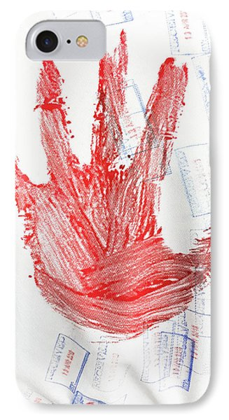 Red Hand Print IPhone Case by Tom Gowanlock
