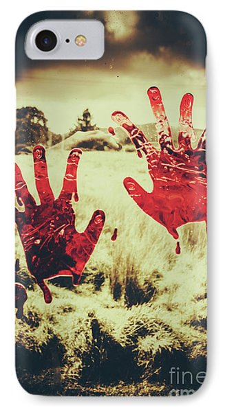 Red Handprints On Glass Of Windows IPhone Case