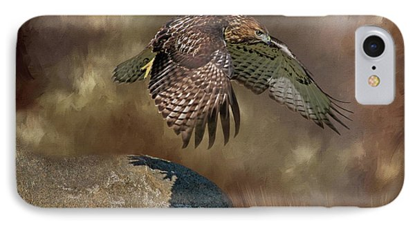 IPhone Case featuring the photograph Red Hawk Down by Donna Kennedy