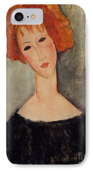 Red Head Phone Case by Amedeo Modigliani