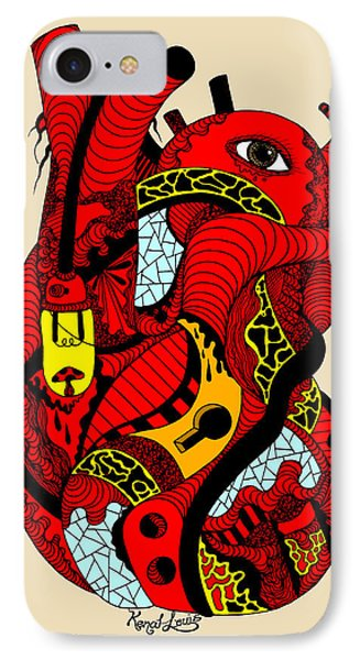 Red Heart Of Light IPhone Case by Kenal Louis