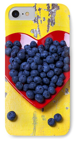 Red Heart Plate With Blueberries IPhone 7 Case by Garry Gay