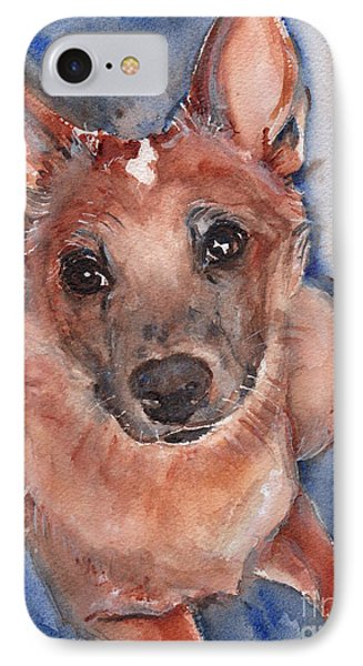 Red Heeler Pup Phone Case by Maria's Watercolor
