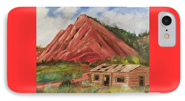 IPhone Case featuring the painting Red Hill And Cabin by Sherril Porter