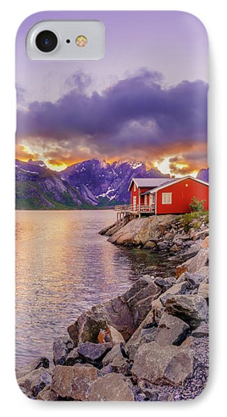 IPhone Case featuring the photograph Red Hut In A Midnight Sun by Dmytro Korol