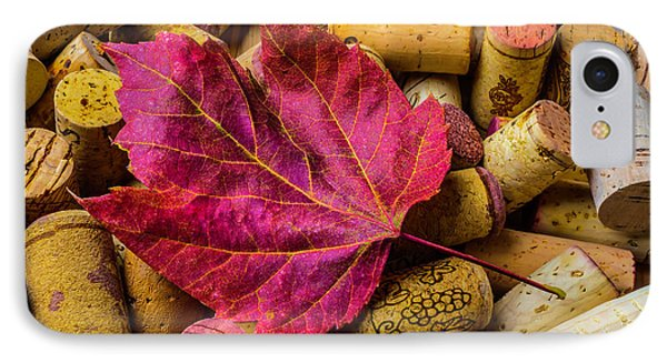Red Leaf On Wine Corks IPhone Case by Garry Gay