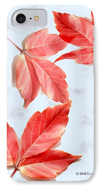 Red Leaves On Blue Texture IPhone Case by Kae Cheatham