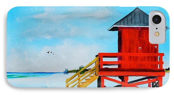 Red Life Guard Shack On The Key IPhone Case by Lloyd Dobson
