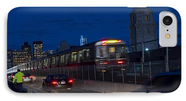 Red Line Train Rumbling Over The Longfellow Bridge In Boston Ma IPhone Case by Toby McGuire