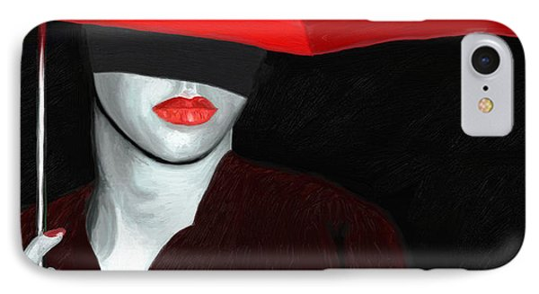Red Lips And Umbrella Phone Case by James Shepherd