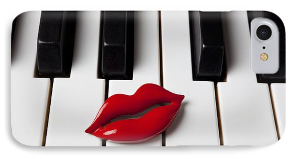 Red Lips On Piano Keys IPhone Case by Garry Gay