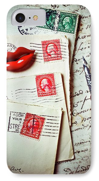 Red Lips Pin And Old Letters Phone Case by Garry Gay