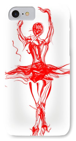 Red Lipstick Ballerina Twirling IPhone Case by Abstract Angel Artist Stephen K