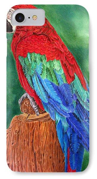 Red Macaw IPhone Case by Dawnstarstudios