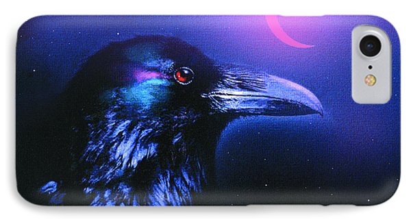Red Moon Raven Phone Case by Robert Foster