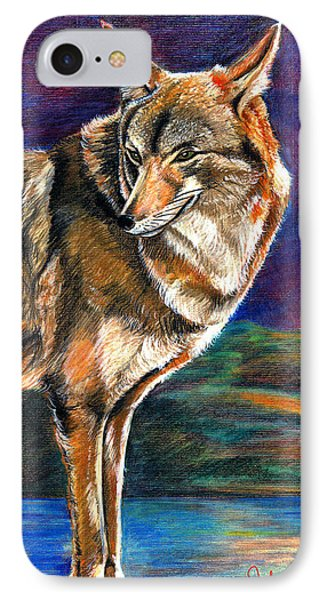 Red Mountain Wolf IPhone Case by John Keaton